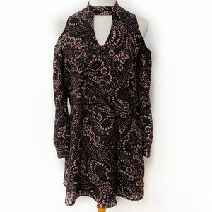 Everly Cold Shoulder Paisley Print Dress